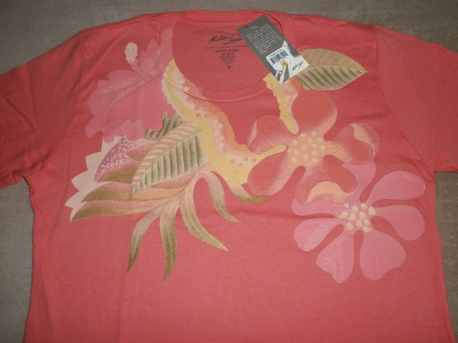 6 MATSON LINES LADIES FLORAL PRINT 100% SOFT COTTON T-SHIRTS  AS REQUESTED