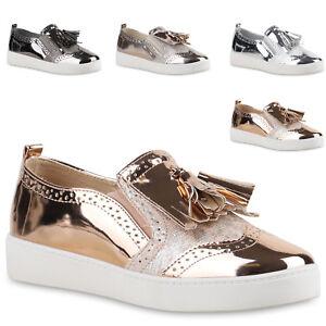 a20681164b54a3 Details zu Damen Sneakers Metallic Plateau Sneaker Slip-ons Schuhe 815911  Trendy Neu