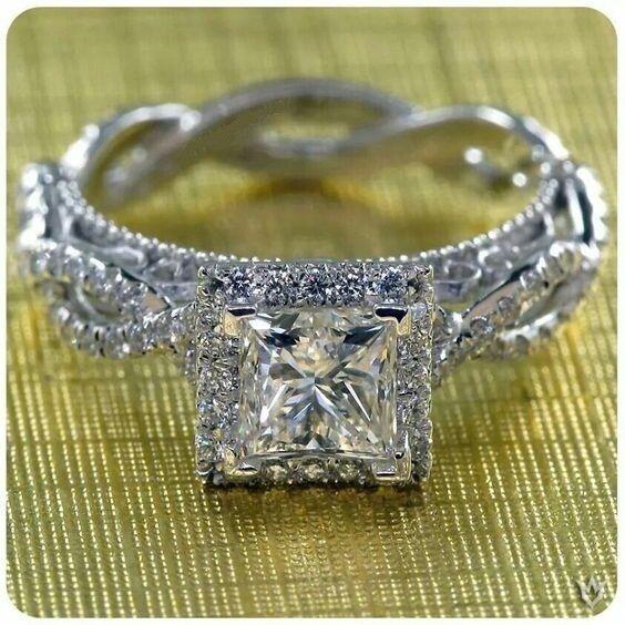14K White Gold Over Diamond Engagement Ring Wedding Ring Princess Cut Women's