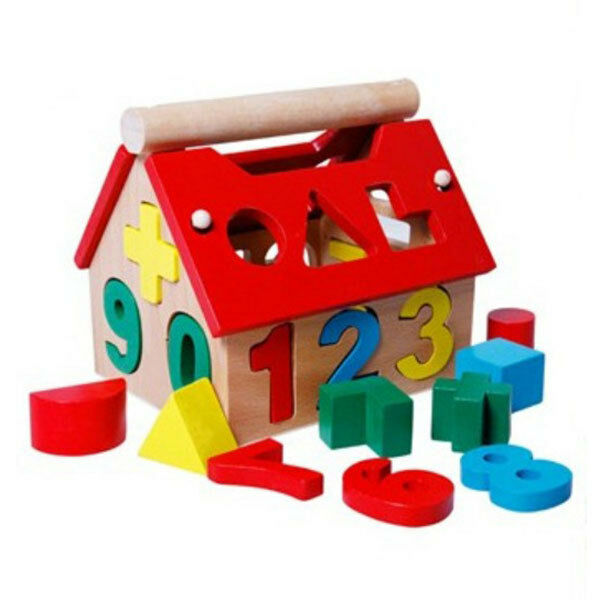 Wooden Toy Toys House Number Kids Children Building Educational Intellectual