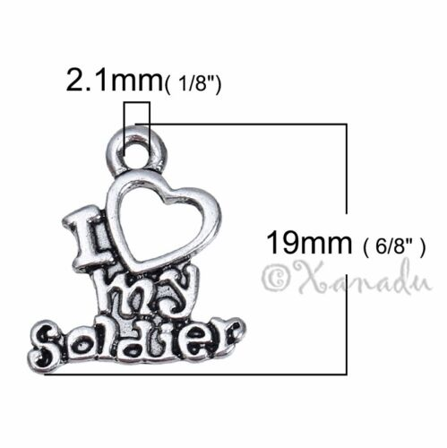 20 Or 50PCs Love My Soldier Antique Silver Plated Military Charm C2302-10