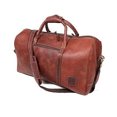 "20/"" Buffalo Leather Travel Duffle Bag Overnight Weekend Luggage Carryon Handbag"