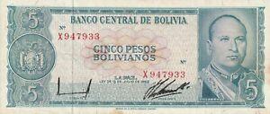 Vintage Bolivia Banknote 1962 5 Pesos Pick 153 153a(10) TDLR