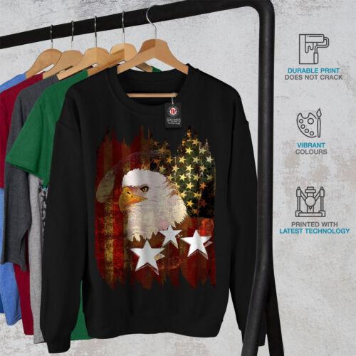 Wellcoda Eagle Freedom Flag USA Mens Sweatshirt USA Casual Pullover Jumper