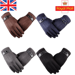 Men/'s Winter Warm Suede Leather Fleece Lined Thermal Touch Screen Driving Gloves
