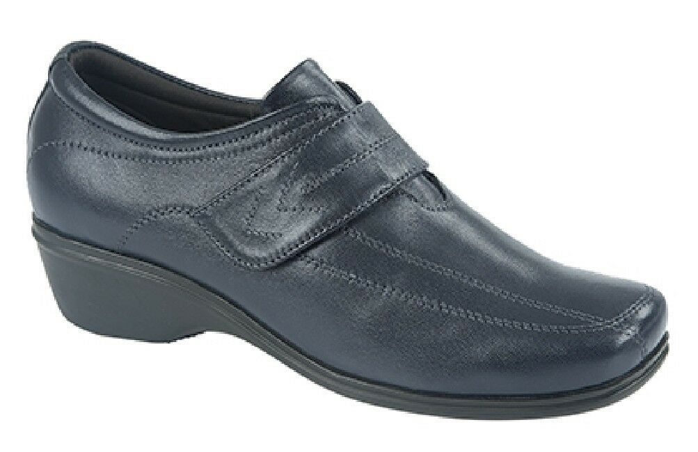 Ladies Mod Comfys L185 Touch Fastening Leather Elasticated shoes