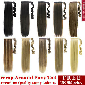 Clip In Ponytail Pony Tail Hair Extension Wrap On Hair Piece Wavy Straight Style