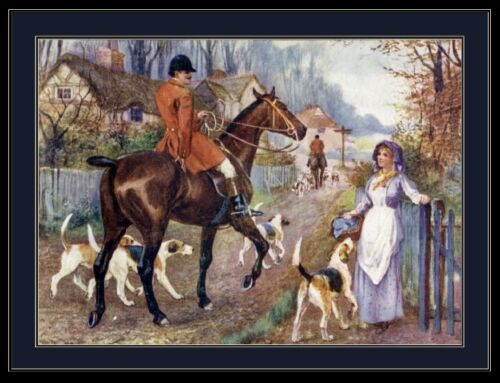 English Print Fox Hound Dog Horse Art Picture