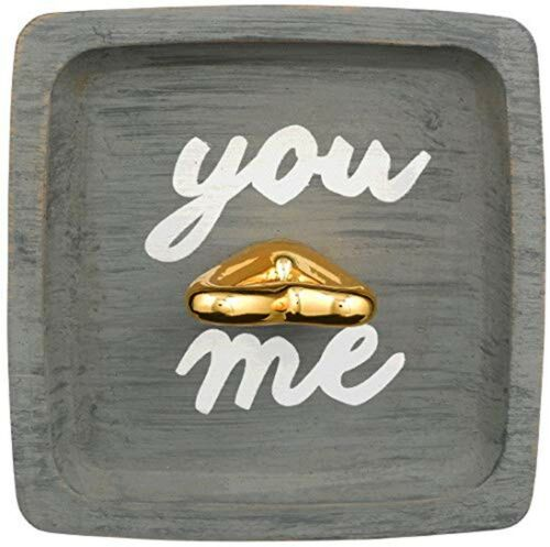 """Golden /""""You /& Me/"""" Ceramic Jewelry Ring Dish Tray"""
