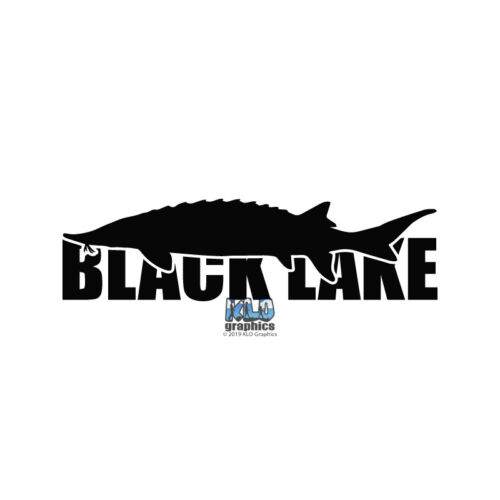 BLACK LAKE STURGEON vinyl Sticker Fishing Sportsman Car Truck BOAT