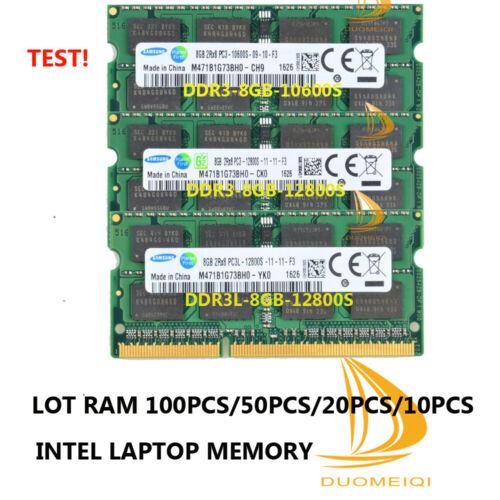 DDR3 12800L 10600S Laptop Memory LOT 100PCS Samsung 8GB 2RX8 DDR3L 12800S