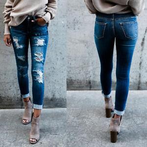 Women-039-s-Denim-Skinny-Ripped-Pants-High-Waist-Stretch-Jeans-Slim-Pencil-Trousers