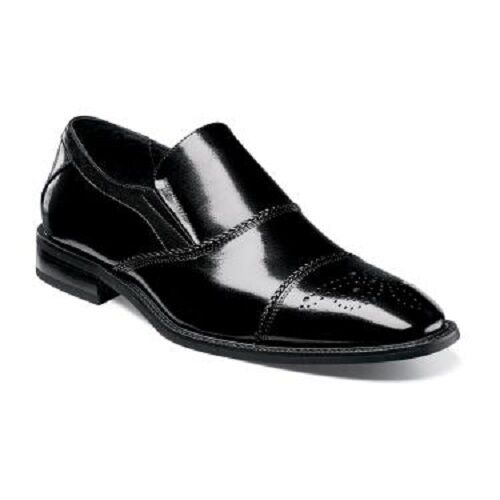 Mens Stacy Adams Buffalo Leather dress shoes Slip On Brecklin 25056-001 black
