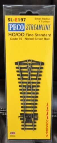 HO Scale PECO STREAMLINE SL-E197 ELECTROFROG Code 75 Small Radius Y Turnout