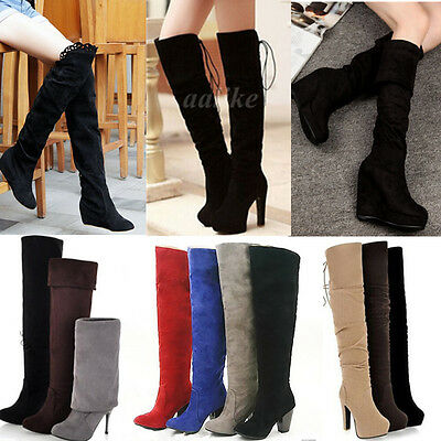 Hot Winter Women Over Knee Thigh Suede Stretch Slouchy High Heel Boots Shoes