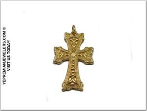 14K-GOLD-ARMENIAN-CROSS-PENDANT-amp-SWAROVSKI-CRYSTAL-BIRTHSTONE-CUSTOM-MADE