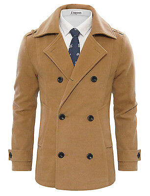 TWCC16 TAM WARE Men/'s Stylish Large Lapel Double Breasted Pea Coat
