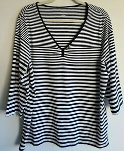 Tan-Jay-Navy-Blue-amp-White-Striped-3-4-Sleeve-Top-Shirt-sz-2X