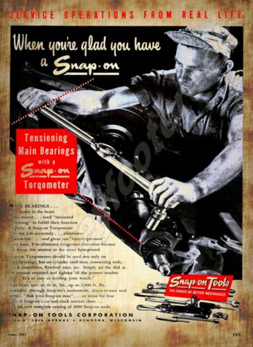 "1947 SNAP ON TOOLS AD  9/"" x 12/"" Sign"