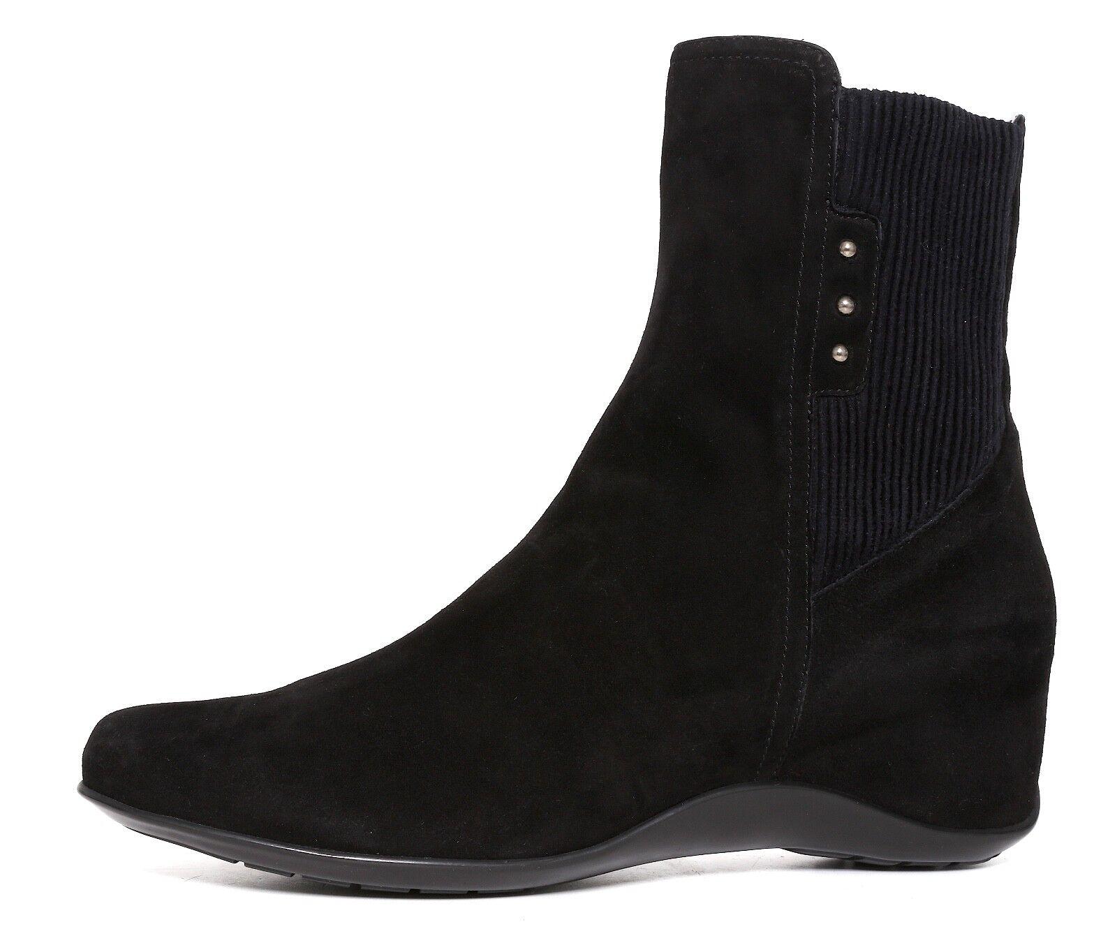 Aquatalia Versus Suede Wedge Ankle Boot Black Women Sz 9.5 6650 *