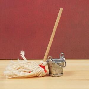 1-12-Dollhouse-Miniature-Mop-Bucket-Niedliche-Mini-Mop-Bucket-Set-Kueche-Wohnkult