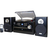 Jensen Stereo Record Player System Home Shelf Sound Speakers Ipod Aux Vinyl Cd