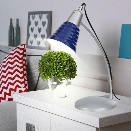 Design Schreib Tisch Leuchte Metall blau silber Lampe Wohnzimmer Beleuchtung