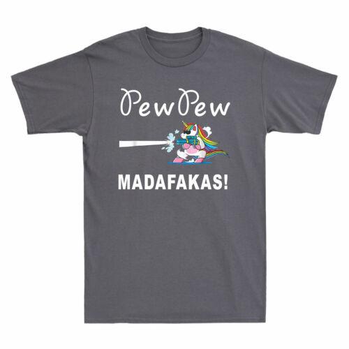 Unicorn Pew Pew Pew Madafakas Men/'s T Shirt Unicorn Crazy Pew Short Sleeve Tee