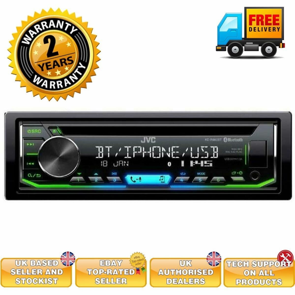 Bluetooth MP3//USB Android Apple Autoradio  4x50Watt 12V JVC Radio KD-R992BT
