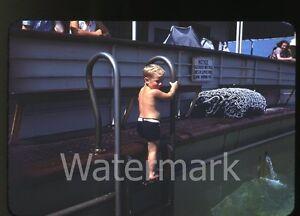 1940-Red-border-Kodachrome-Photo-slide-Boy-swimmer-aboard-S-S-Dixie-NY-to-NOLA