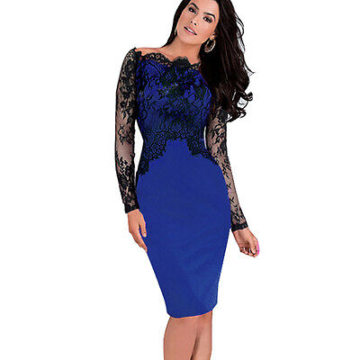 Women Elegant Celeb Pinup Cut Out Lace Tunic Bodycon Evening Party Dress E803