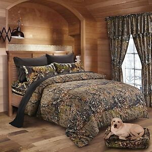 7PC KING NATURAL CAMO COMFORTER AND BLACK SHEET SET CAMOUFLAGE BED IN BAG