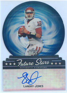 Landry-Jones-2013-Leaf-Draft-Future-Stars-Blue-on-card-Auto-Rc-13-15-Rookie