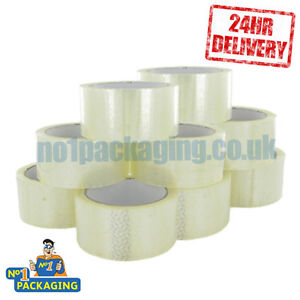36-ROLLS-PARCEL-CLEAR-PACKING-TAPE-SELLOTAPE-48mmx66m-PACKAGING-CARTON-SEALING