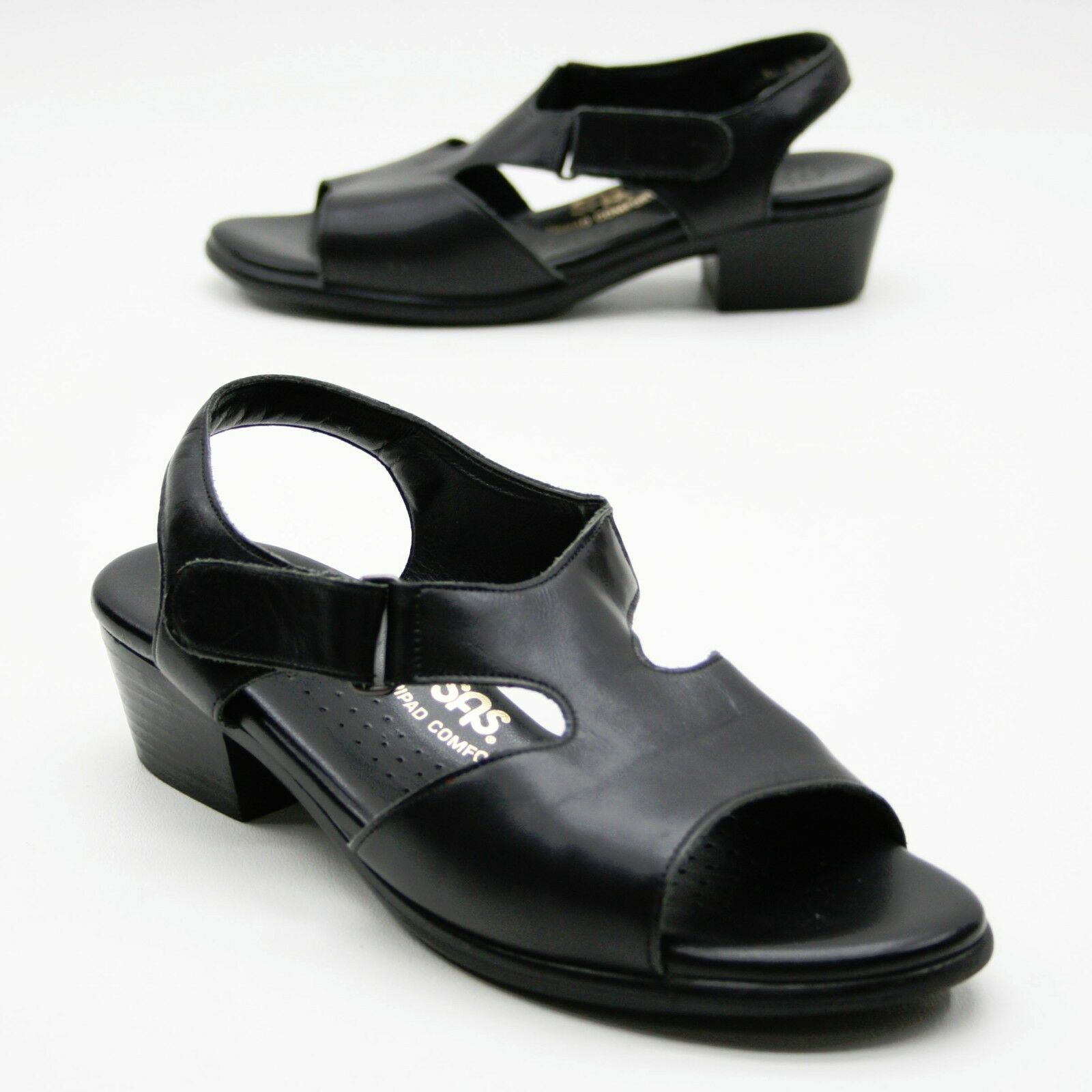 SAS Suntimer Toes Ladies 7 M Black Leather Sandals Open Toes Suntimer Tripad Comfort Strappy aeb5e4