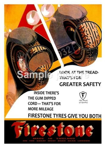 Vintage motoring advertising Poster reproduction. Firestone Tyres
