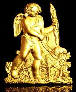 Vers-1800-EMPIRE-Francais-Angelot-Mouton-en-bronze-dore-pour-Pendule-Cartel
