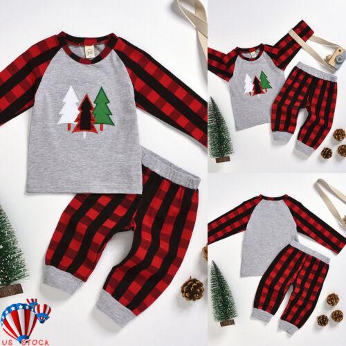 Newborn Baby Boys Girls Long Sleeve Tops Pants Christmas Xmas 2Pcs Set Clothes