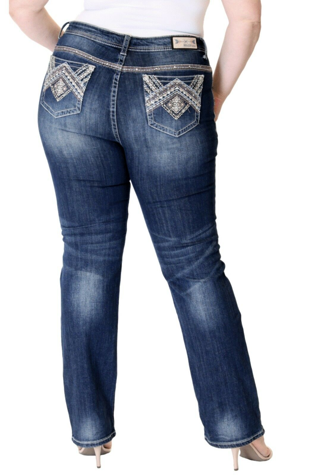 Grace In LA Jeans Mid Rise Embellished Boho Straight Leg Plus Size 18 20 22