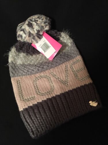 SOLD OUT Betsey Johnson Adorable Pom Pom Winter Hat Beanie Sequined *LOVE* New