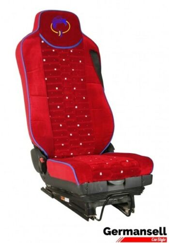 Lorry Seat Covers in Red Velvet Iveco Stralis 450 Year 2005-2017 Very
