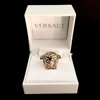$425 Gianni Versace Men's Women's Gold Palazzo Medusa Logo Ring Authentic