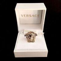 $425 Gianni Versace Men's Women's Gold Palazzo Medusa Logo Ring Authentic