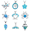 Fashion-Sea-Theme-Sea-Turtle-925-Silver-Blue-Fire-Opal-Necklace-Unique-Jewelry thumbnail 1