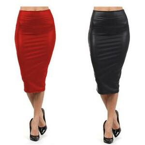 Women-Lady-Pencil-Wiggle-Bodycon-Wet-Look-Faux-Leather-Casual-Club-Skirt-Dress-B