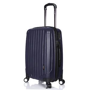 Navy-Blue-Hard-Shell-Luggage-Suitcase-Lightweight-4-Double-Wheels-24-034-Medium