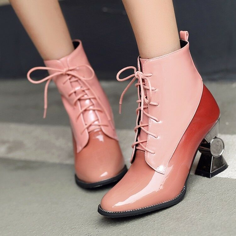 Shinny Leather Shaped Heels Patent Leather Lace Up femmes Ankle bottes chaussures NEW