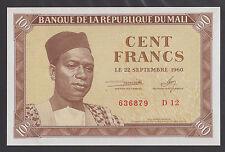 Mali 100 Francs 1960 Unc P2 Banknote in perfect Uncirculated condition Rare