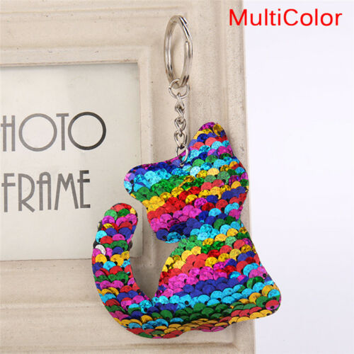 Cat Shaped  Sequins Key Chain Handbag Pendant Keyring Jewelry Gifts Cute#O