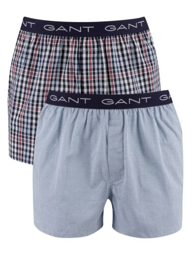 Bleu Gant Hommes Pack De 2 Tissé Boxer Shorts